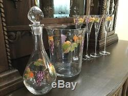 Gorgeous and Unique Wine Things Hand Painted Vintage Wine Glass Set