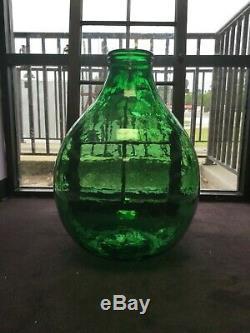 HUGE Demijohn Green Glass Wine Jar (Wide-Mouth) 2. Ft TALL Vintage Antique