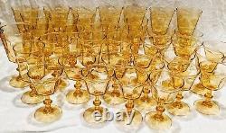 HUGE Set of 38 Lenox Antique Yellow Stemware Water Champagne Wine Sherbet