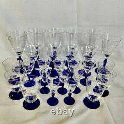Huge Lot/Collection 26 VTG Etched Crystal Cobalt Blue Stemware Cocktail Glasses