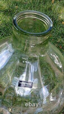 Huge Vintage Italian Clear Glass Demijohn Jug Unique Wide Mouth 24