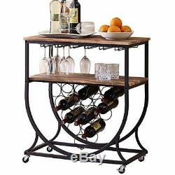 Industrial Bar Cart On Wheels For Home Vintage Wine Rack Cart With Glass Holder