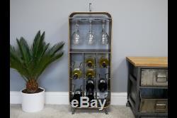 Industrial Vintage Style Metal Wine Rack Bottle Glass Gin storage Rack Unit Home