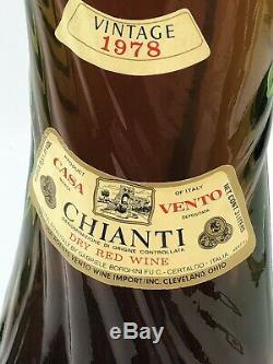 Italian- Tall Tuscun Chianti Green Glass Wine Bottle Shape of a Woman Vtg 1976