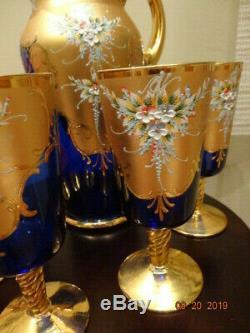 Italian Vintage Original Murano Handmade 24K Gold & Cobalt Wine Set
