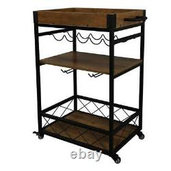 Kitchen Cart Bar Serving Rolling Utility Storage 3 Tiers Shelf Wine Glass Rack