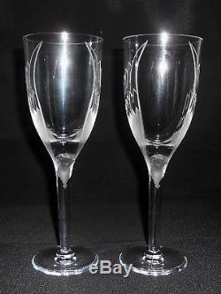 LALIQUE France 8 Angel Crystal Flutes Ange Champagne / White Wine VTG 1980s