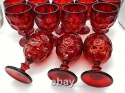LOT of 12 Vintage Royal Ruby Red Amberina GLASS 5-5/8 Water Goblets Thumbprint