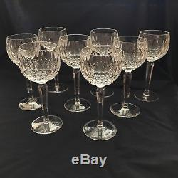 LOT of 8 vintage signed Waterford Wine Hock Colleen Short Stem Cut Glasses 7.5