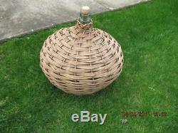 Large Oval Wicker wrapped Green Glass Demijohn vintage 46 inch circumfrance