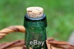 Large vintage VIRESA green glass DEMIJOHN wine bottle in wicker basket 17 10L
