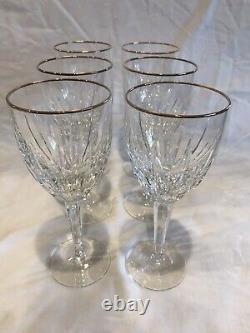 Lenox Vintage Cut Crystal CLARITY GOLD Wine Glasses (Set Of 6)