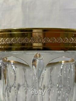 Lg Vtg Glass & Gold Metal Hollywood Regency Champagne Wine Bucket Cooler w Faces