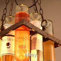 Loft Vintage Retro Glass Wine Bottle Ceiling Light Iron Store Cafe Pendant Lamp