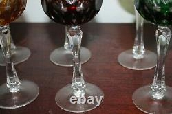 Lot 6 Vintage Antique Bohemian Czech Crystal Wine Sherry Glasses Multi Color