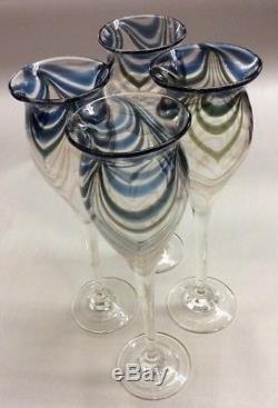 Lot Of 4 Vintage 70's ARTISAN Hand Blown NANCY FREEMAN 8 TULIP WINE GLASSES