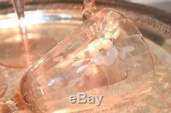 Lot of 6 Vintage Pink Depression Etched Glass CRYSTAL OPTIC Wine Glasses Stems
