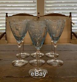 Lot of 7 Vintage Fostoria Versailles Azure Blue Wine Glass 8.25 EVC