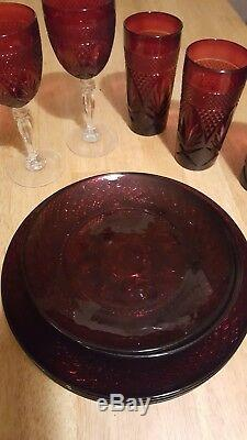 Luminarc Arcoroc Vintage Crystal Ruby Red dinner set for four with Wine decanter