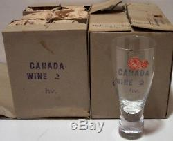 MCM c. 1957 vintage Holmegaard Denmark glass Canada wine cordial tumbler 58pc MIB