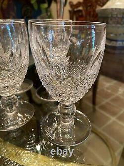 MINT 6 Vintage WATERFORD COLLEEN Short Stem White Wine Crystal 4 3/4