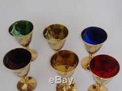 MURANO VENETIAN Vtg Italian 22K Gold Applied Floral White Wine Glasses Set of 6