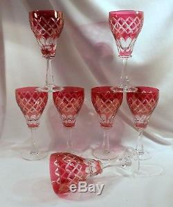 Matched Set 7 Bohemian Cranberry Cut to Clear Wine Goblets, Excellent Condition