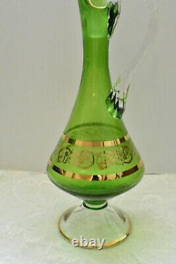 Murano Green Wine Decanter, Vintage Italy Wine Glasses