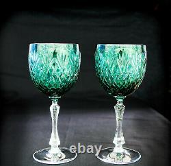 Neman hand-made 280ml / 9.5oz Vintage Green Cut Crystal Wine Glasses, Set of 6