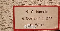 New Vintage Cristal de Sèvres T299 Segovie 6 Multi-Color Crystal Wine Stemware