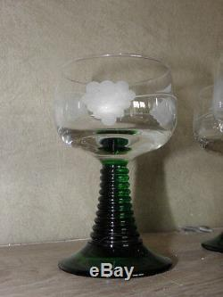 Old french Glass cut white wine Alsace vintage retro big feet green bunch grape