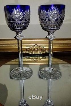 PAIR VINTAGE St Louis FRANCE Massenet COBALT Blue Cut-Clear Crystal Wine GLASSES