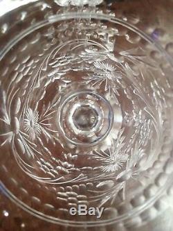 Pair Antique Thomas Webb cut crystal goblet wine vintage English glass stemware