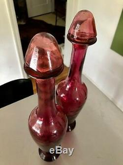 Pair Vintage Deep Rosé Pink Art Glass Spanish Wine Decanters Matching Stoppers