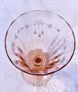 RARE 9 Vtg Etched Pink Optic Depression Glass Stemware Wine Goblets