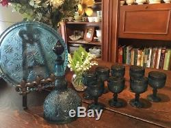RARE VINTAGE Tiara Indiana Glass Colonial Blue Sandwich 10 pc Decanter Wine Set