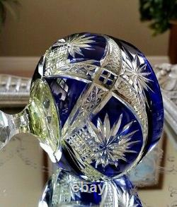 RARE Vintage Baccarat Blue & Yellow 3-Color Cut to Clear Crystal Wine Goblet