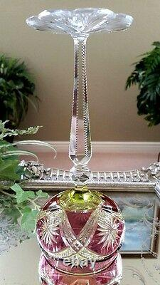 RARE Vintage Baccarat Purple & Yellow 3-Color Cut to Clear Crystal Wine Goblet