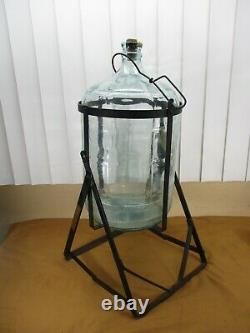 RARE Vintage CRISA 5 Gallon Carboy Wine Water Glass Jug with Wright Tilted Cradle