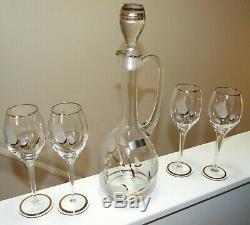 RARE Vintage Romanian Crystal Decanter & Glasses SetEtched Crystal & Gold Leaf