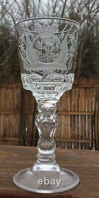 Rare 1917 Russian Imperial Cut Glass Goblet from the Palace of Czar Nicholas II