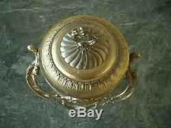Rare Antique Vtg Fr Provincial Brass Tone Metal Glass Ice Bucket Wine Cooler