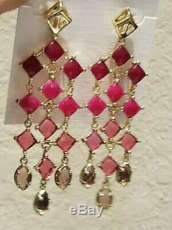 Rare Kendra Scott Chandelier Earrings. Fuschia Jade, Berry, Wine. Vintage