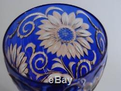 Rare Old Wine Glass Stevens & Williams Crystal Two Color Amber And Blue Flowers