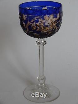 Rare Old Wine Glass Stevens & Williams Crystal Two Color Amber Blue Flowers Acid