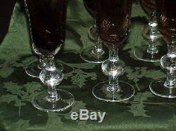 Rare Set of 8 Art Glass Crystal Brown & Clear Wine Stems Pontil Antique Vintage