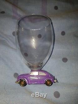 Rare Vintage Majorette VW Volkswagon Beetle Wine Glasses Set of 4