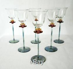 Rare Vintage Murano Venetian Salviati 6 x Huge Wine Goblet w Tourmaline Stem