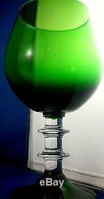 Rare Vintage SASAKI Japan GREEN GOBLET Stemmed Water Wine Glass Bar COLLECTABLE