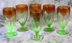 Rare Vintage Set 6 Green Vaseline Uranium Shaded Amber Glass Goblets Wine Glass